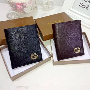 """Gucci"" Men Vertical Section Purse Simple Fashion Classic Metal Double G Letter Short Section Fold Wallet"