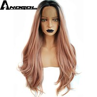 Anogol Long Natural Wave Pink Ombre Dark Roots High Temperature Fiber Hair 2 Tones Synthetic Lace Front Wig for Drag Queen