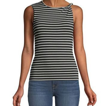 FRAME Striped Knot-Shoulder Tank