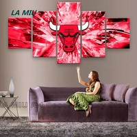 5 Piece Wall Canvas Painting Art Picture Printed Chicago Bulls Team Posters Art Canvas For Home Quadros Artwork Canvas Art