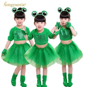 Children's Small Frog Performance Costume Long-sleeved Animal Clothing Sequined Tutu Skirt for Boys and Girls tutu skirt