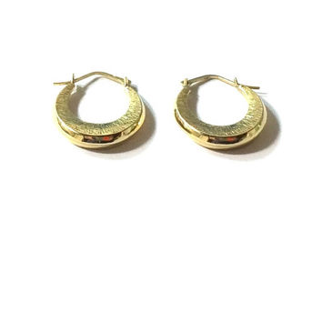 14K Gold Hoop Earrings , 14k Solid Gold Hoops , Simple Hoop Earrings , Vintage Solid Gold Earrings