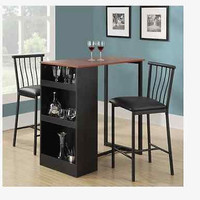 Bar Stool Espresso Modern 3 Pc Counter Height Dining Set Storage Table Kitchen