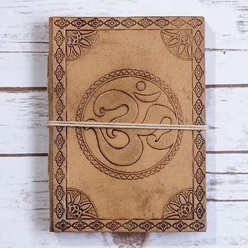 Om Yoga Blonde Handmade Leather Journal