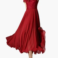 Red Lace Short Sleeve Empire Maxi Dress