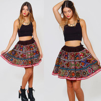 Vintage 70s ETHNIC Mini Skirt Heavily EMBROIDERED Boho Flared Skirt Folk Skater Skirt