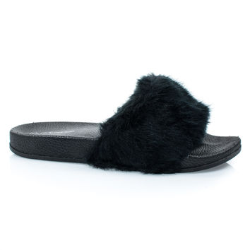 Izzy24 Black By Forever Link, Fluffy Furry Faux Fur Single Band Slide In Slipper Sandal w Footbed Folding