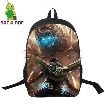 Cool Attack on Titan Anime  Godzilla Crossover Backpack Eren Godzilla Backpack for Teenagers Boys School Travel Bag Kids Book Bags AT_90_11