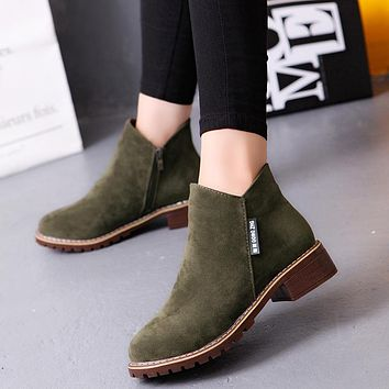 Women ankle boots flock low heel warm boots for woman fashion zip black autumn winter boots women shoes