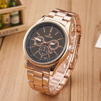 Fashion Rose Gold Alloy Band Strap Mrist Watch for Men Best Christmas Gift + Gift Box-453