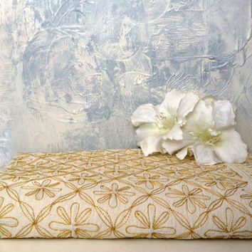 Stunning vintage gold metallic indian hand embroidered bedspread / wall hanging