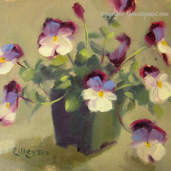 Baby Pansies...Original Oil Painting by Maresa Lilley, SND