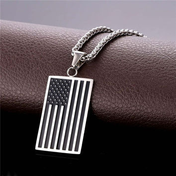 Hot US National Flag Pendant Necklace American Fashion Jewelry Stainless Steel/Gold Color Patriot Necklace For Men Chain GP1810