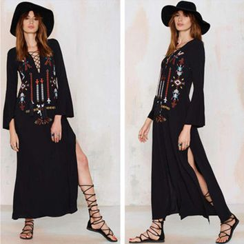 LMFON Free People' Fashion Ethnic Retro Totem Embroidery V-Neck Bandage Long Sleeve Maxi Dress