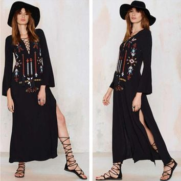 DCCKVQ8 Free People' Fashion Ethnic Retro Totem Embroidery V-Neck Bandage Long Sleeve Maxi Dress