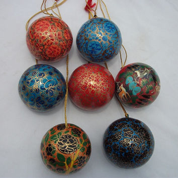 Bauble Blue christmas ornament ball/christmas tree decoration/Handmade contemporary decor/Home Decor/Paper mache/Papier Mache/papiermâché
