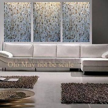 COMMISSION Original Large Abstract Painting 72X36 3 piece tripych white gold brown Texture Artwork oil canvas acrylic Made to order by OTO