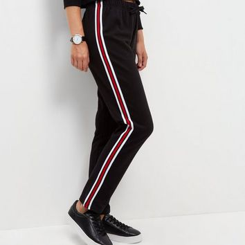 Black Tape Stripe Straight Leg Joggers