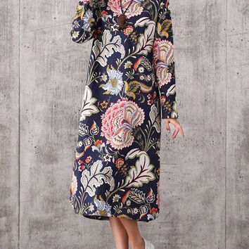 Streetstyle  Casual Round Neck Side Slit Printed Cotton/Linen Maxi Dress