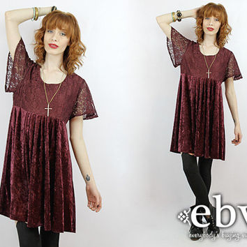 Vintage 90s Grunge Oxblood Velvet Mini Dress S M Oxblood Dress Grunge Dress Babydoll Dress 90s Grunge Dress Oxblood Dress