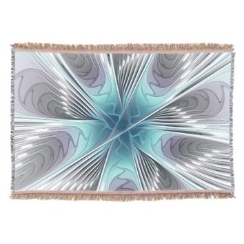 Elegance, Modern Blue Gray White Fractal Flower Throw