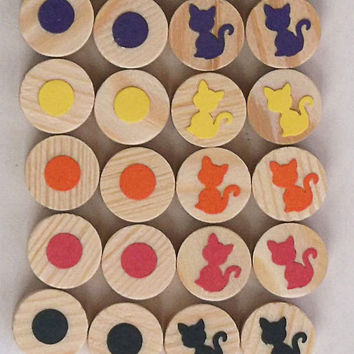 Wooden Memory Matching Game, Kittens and Dots, A Waldorf and Montessori Inspired Toy
