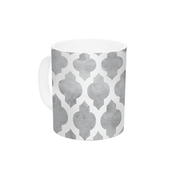 "Amanda Lane ""Gray Moroccan"" Grey White Ceramic Coffee Mug"