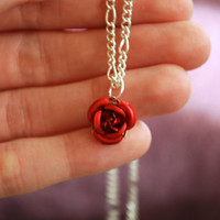 Rose Necklace Red Yellow Green Black Roses Silver by Ear2There