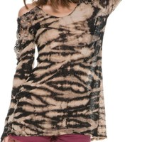 SWELL SHADOWS COLD SHOULDER TIE DYE SWEATER