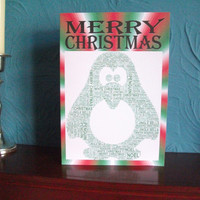 Printable A5 Christmas Card - Green Penguin Word Art Shape, Instant download. DIY cards.
