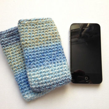 Blue iPhone Sleeve, Crocheted Cell Phone Case, Blue Stripes, Chunky Phone Cosy, Nokia Lumia Sleeve, iPhone 5 Case, Blue and Green, Dark Blue