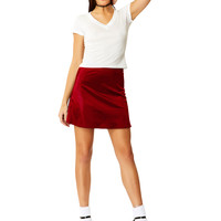 Night Jewel Ruby Satin Mini Skirt