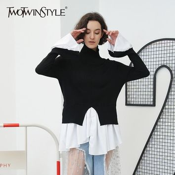 TWOTWINSTYLE Turtleneck Sweater Female Flare Sleeve Irregular Ruffles Patchwork Draped Knitted Pullover Women Autumn Clothing