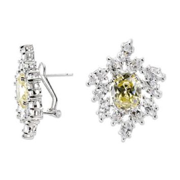 CZ by Kenneth Jay Lane Canary-Colored Cubic Zirconia Cluster Earrings