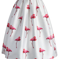 Chic Flamingos Pleated A-line Skirt White