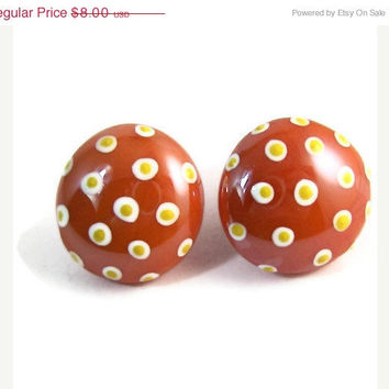 10% off Etsy SALE White and Yellow Polka Dot Hand Painted Orange Glass Stone Pebble Post Stud Earrings