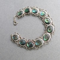 Sterling Silver & Abalone Vintage Paua Shell Link Bracelet