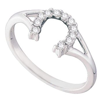 10kt White Gold Women's Round Diamond Lucky Horseshoe Split-shank Ring 1/10 Cttw - FREE Shipping (US/CAN)