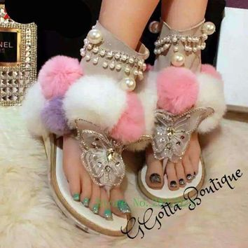 GGotta's  Mixed Colors Butterfly Pearl String Crystal Fur sandals