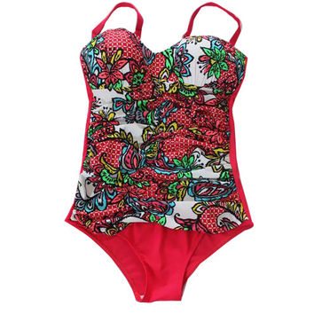 Flower Plus Size One Piece Swimwear