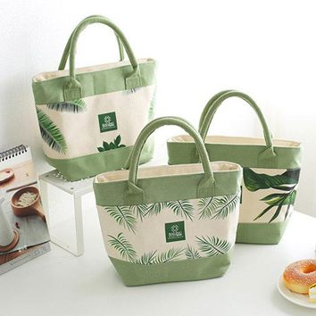 SaicleHome Lunch Tote Bag Canvas Cooler Insulated Handbag Storage Containers Picnic Outdoor