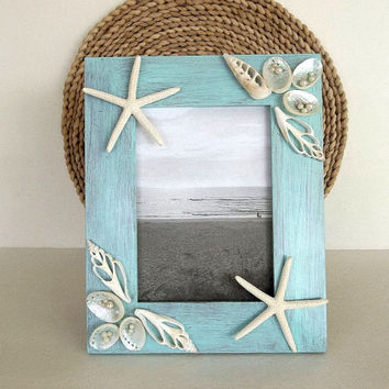 Beach Decor picture frame 5x7 Seashell & Starfish photo frame with faux pearls and Abalone sea shells Coastal Seashore Nautical Decor shells