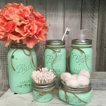 Mason Jar Bathroom Vanity Set / Set of 5 Jars / Mint Painted Mason Jars