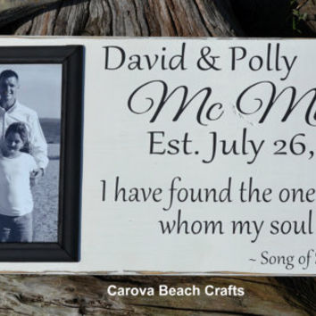Wedding Sign Decor Personalized Picture Frame 20x10 Anniversary Gift Custom Name Painted Wedding Gift Song of Solomon 3:4 Black White