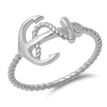 925 Sterling Silver Sideway Columbus Anchor Ring 11MM