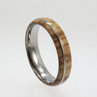 Olive Wood Ring on Titanium Band, Waterproof Wooden Wedding Ring, Ring Armor Included