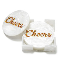 "Edie Parker ""Cheers"" Handmade Coasters, Set of Four"