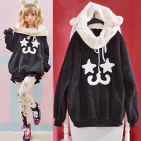 Cute kawaii cartoon fleece coat
