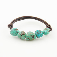 Turquoise Brown Leather Stretch Bracelet