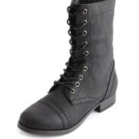 Distressed Lace-Up Combat Boot by Charlotte Russe - Black